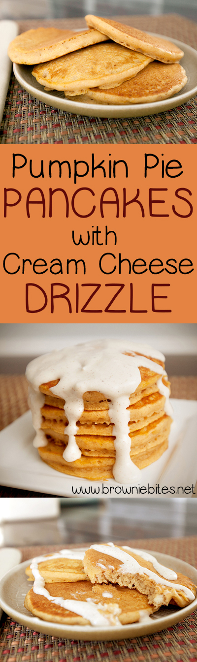 Fluffy pumpkin pancakes with a cream cheese drizzle that's not too sweet! These pancakes are made from a doctored just-add-water pancake mix, so they are super fast to whip up on any fall morning!