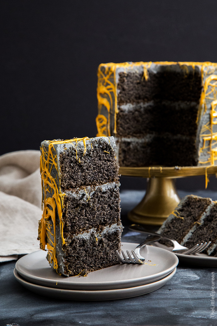 black sesame cake with orange webs