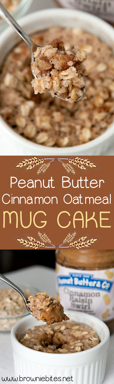 My new favorite mug cake! Egg-less batter that does not get rubbery in the microwave - full of cinnamon-y oats and a warm melted core of peanut butter.