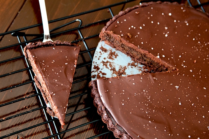Triple Chocolate Salted Tart