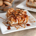 Caramel Apple Cheesecake Squares - with a Nilla and graham cracker crust, salted caramel sauce and a sweet crumbly topping.