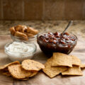 Fig and Plum Chutney with Cardamom whipped cream cheese - this chutney can be served as a dip over the cream cheese or used by itself as a condiment for your hams, turkeys, and chickens!