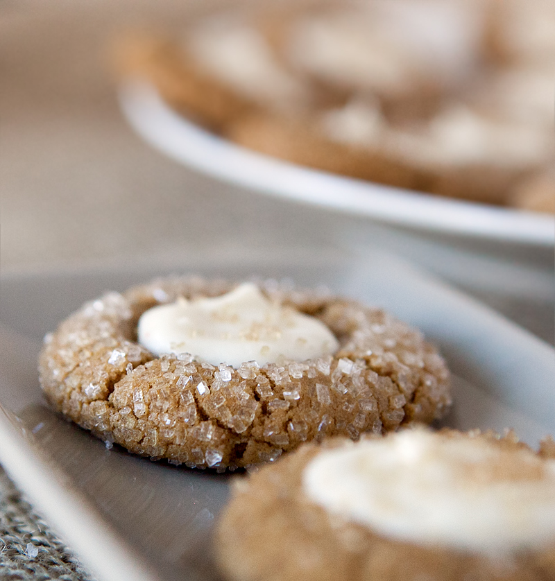 Gingerbread thumbprint cookies with butter rum filling . I LOVE these - so chewy and delicious for the holidays!