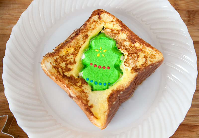 Peeps in a Basket French Toast. This would make such a fun Christmas breakfast for the kids! Could use any holiday-themed Peeps for any time of the year.