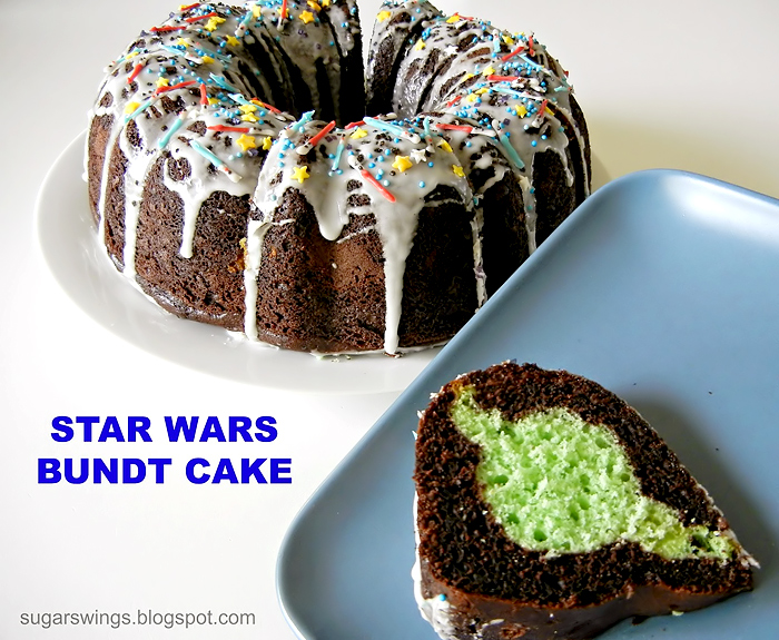 Food inspired by Star Wars - bundt cake with hidden Yoda and light saber sprinkles