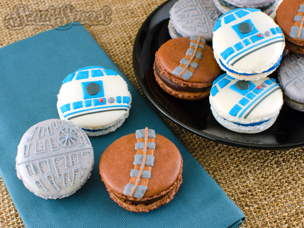 Food Inspired by Star Wars - Death Star, Chewbacca, and R2D2 macarons