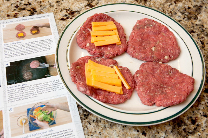 Blue Apron Meal Delivery - Juicy Lucy cheese stuffed burgers