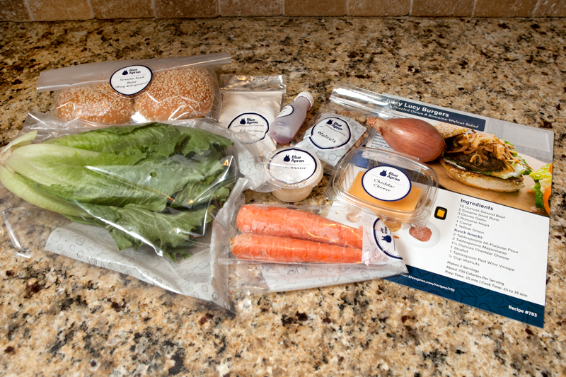 Blue Apron Meal Delivery - Juicy Lucy burgers with salad