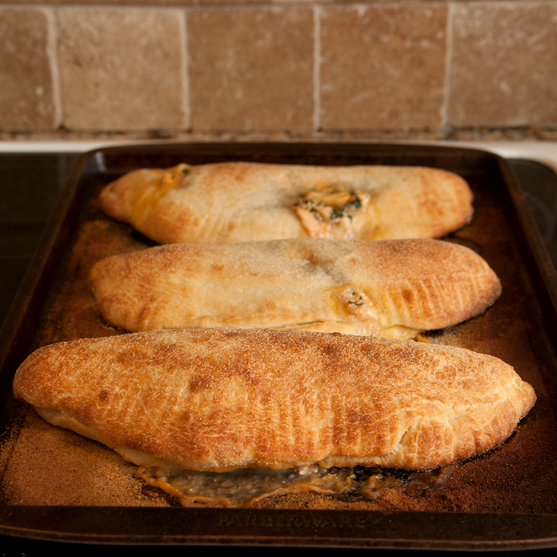 Blue Apron Meal Delivery - Three Cheese Calzone with Kale and Tomato Sauce