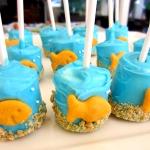 Bubble Guppies party idea - goldfish marshmallow pops
