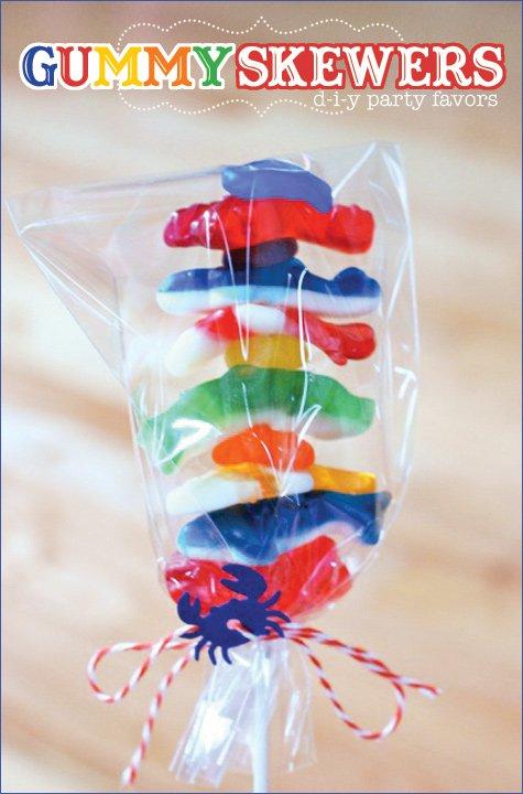 Bubble Guppies party idea - gummy fish kabob (skewers)