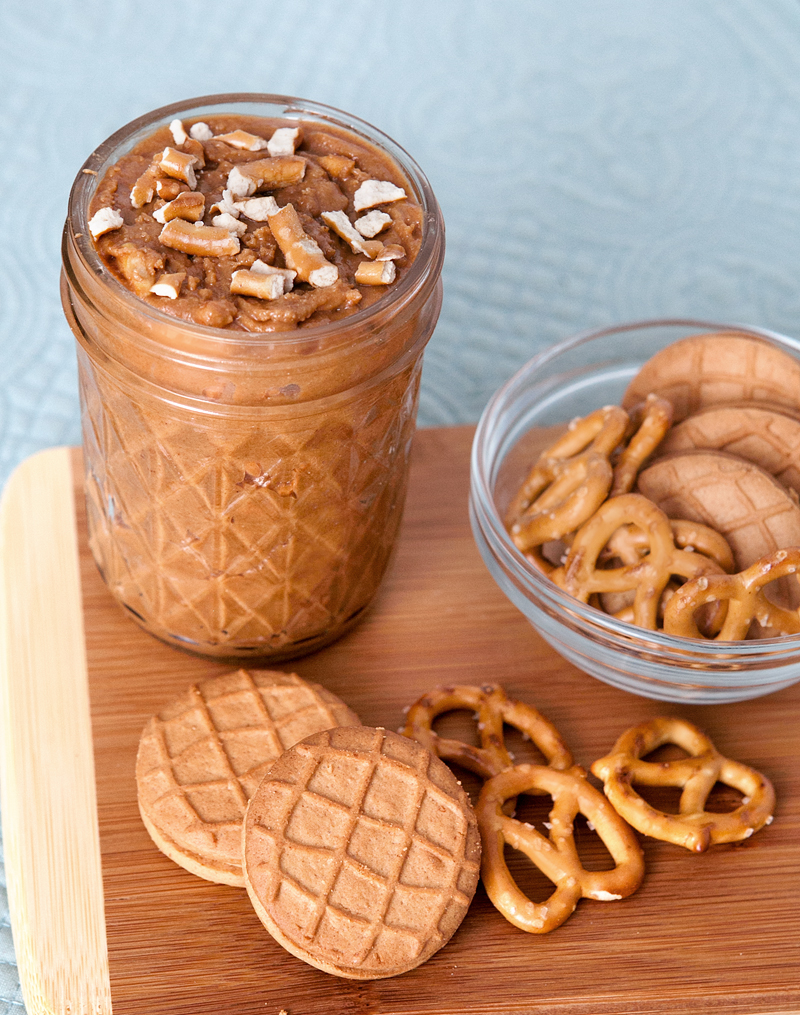 Homemade Peanut Butter Pretzel Crunch Cookie Butter . Oh my gosh, this is amazing!! All you need is 3 ingredients and it can be stored at room temperature.