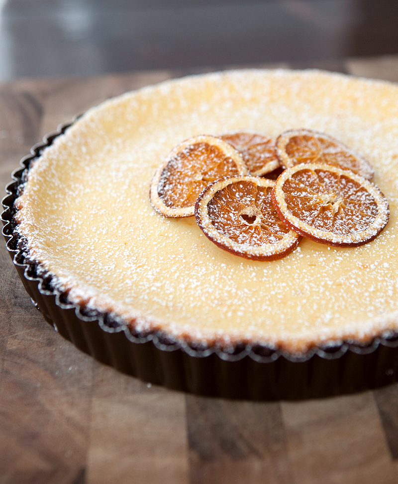 Chocolate Orange Ricotta Tart - a smooth citrusy tart made with soft ricotta and mascarpone on a bold chocolate shortbread crust.