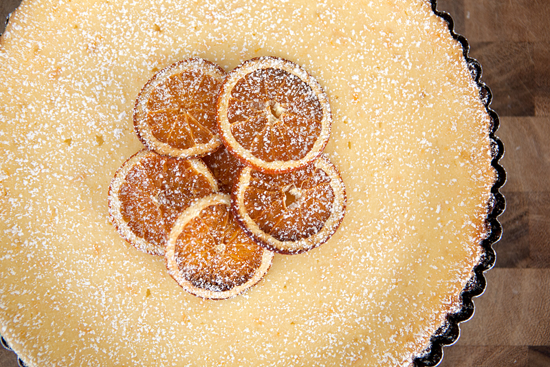 Chocolate Orange Ricotta Tart - a smooth citrusy tart made with soft ricotta and mascarpone on a bold chocolate shortbread crust.