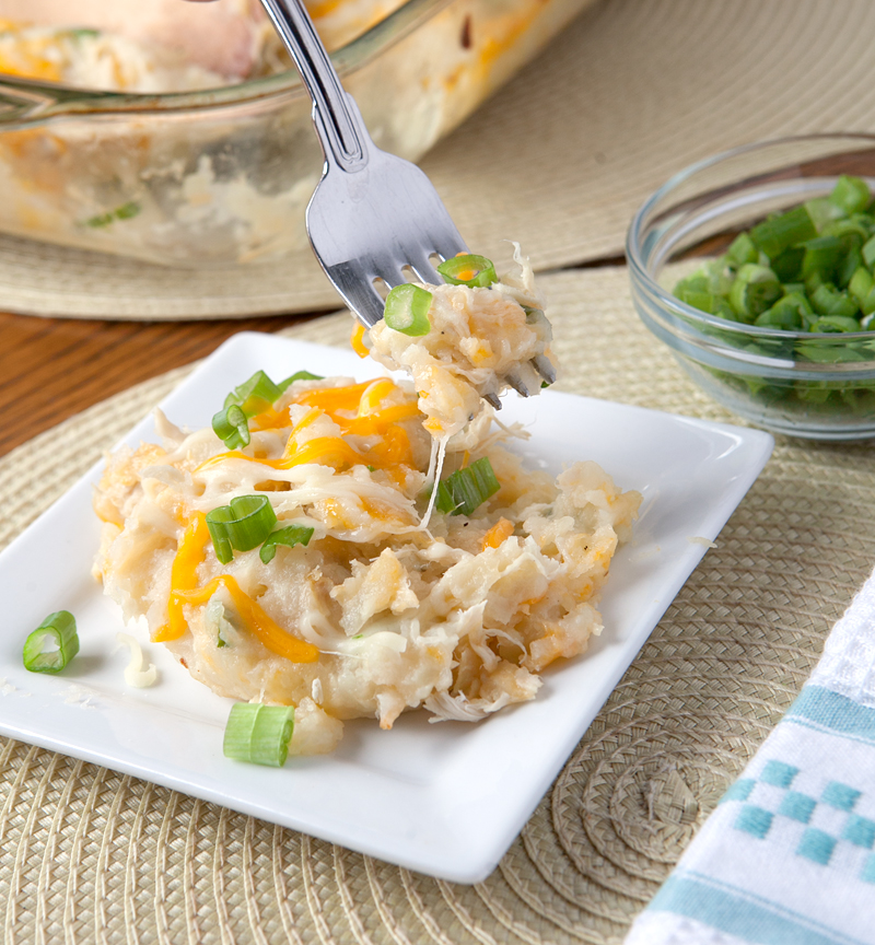 Cheesy chicken and potato casserole made WITHOUT any canned condensed soups! Really easy and super delicious weeknight dinner idea!