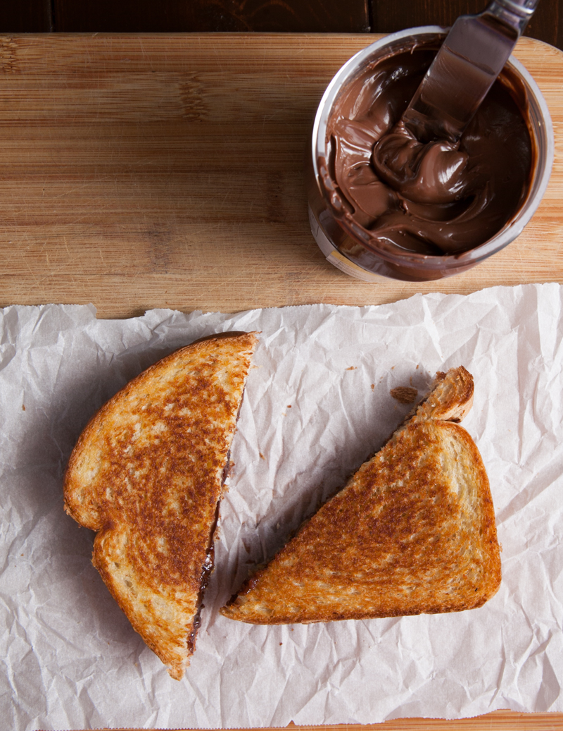 Grilled Nutella and gouda cheese sandwich - yes, really. Apparently this is a thing in Germany?