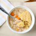 Ham and Bean Stew Cassoulet with Cornmeal Dumplings. This is so easy to make, yields a TON of food, and is SO SO SO GOOD!