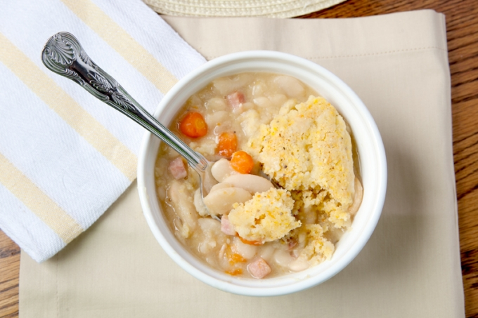 Ham and Bean Cassoulet with Cornmeal Dumplings