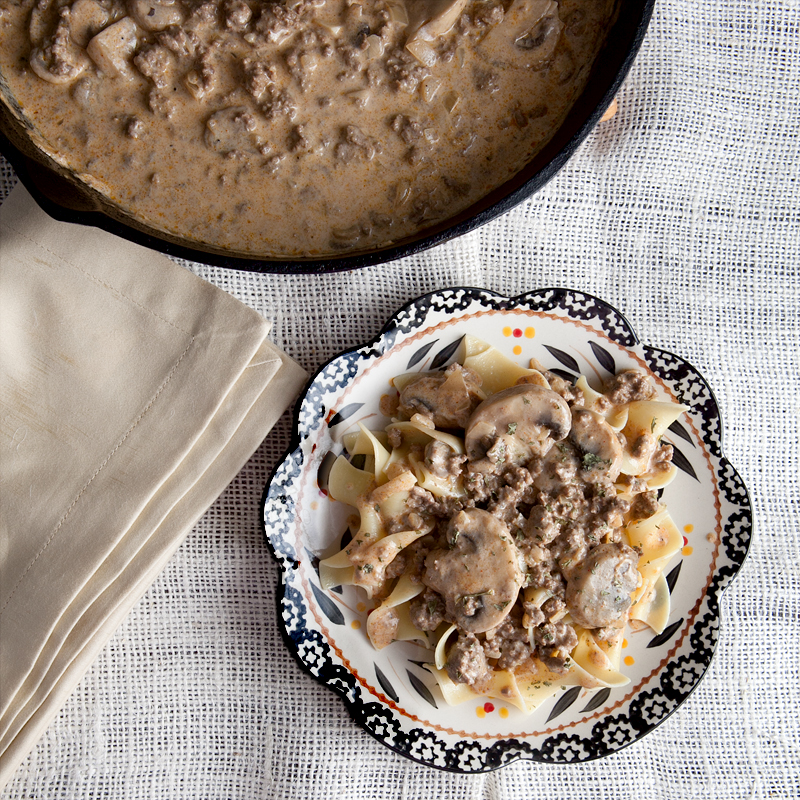 Lightened up beef stroganoff - this uses lean beef, yolk-free noodles, and Greek yogurt!  Great make ahead meal because it tastes the best the second day!