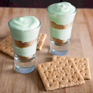 Shamrock Dessert shooters - refreshing, minty, and perfectly portioned. These would be perfect to serve after a heavy dinner when you just need a little something sweet instead of a heavy dessert.