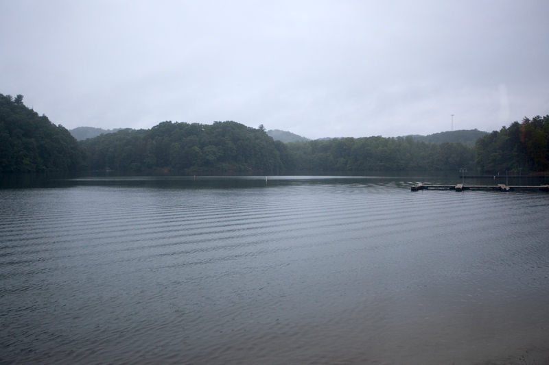 rainy misty day at the lake