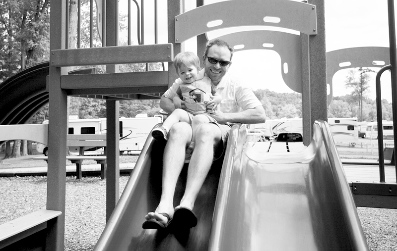daddy and baby on swing