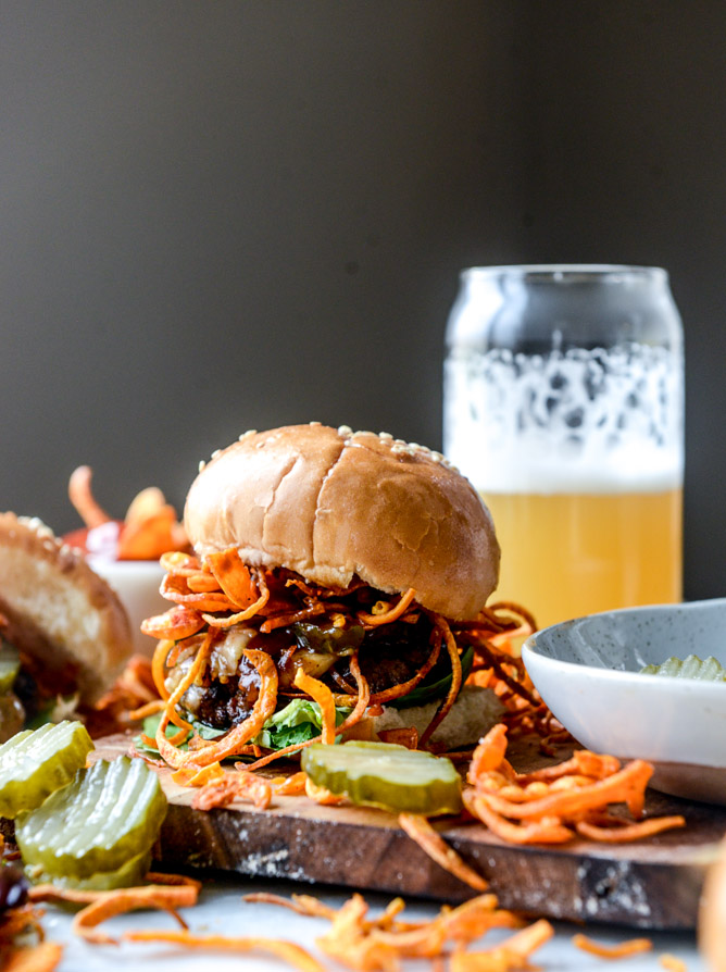 BBQ Havarti Burgers with Sweet Potato Fries