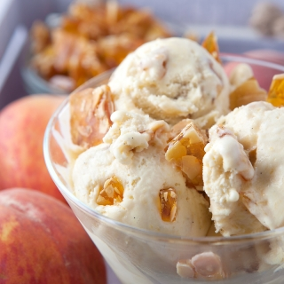 Honeyed Peach and Praline Ice Cream