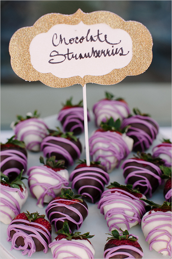 Purple chocolate covered strawberries for Sofia The First party