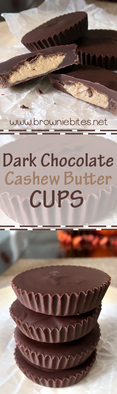 Homemade dark chocolate cashew butter cups that are like super easy, super fancy Reese's cups!