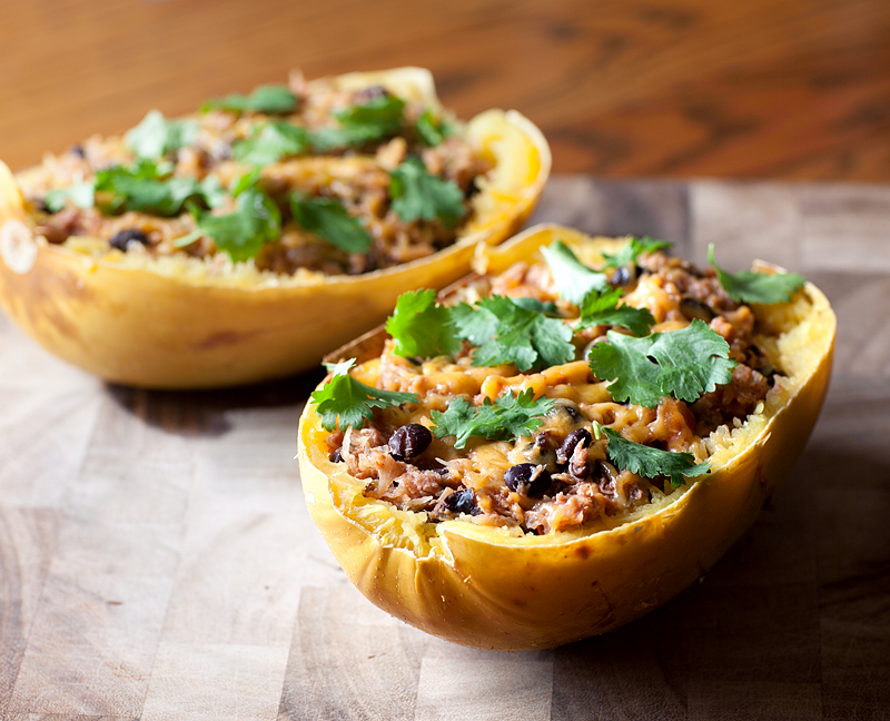 Southwestern Stuffed Spaghetti Squash - once you roast the squash, this dinner comes together quickly and is SO GOOD! My husband has already begged me to make it again and again!