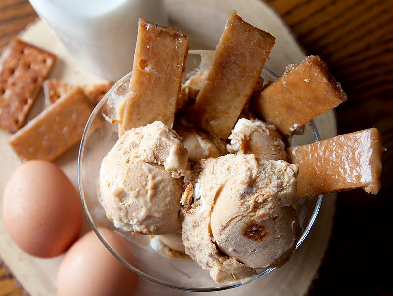 Sweet Potato Pie Ice Cream is the perfect winter ice cream. Served it with pieces of homemade graham cracker toffee for a sweet crunch!
