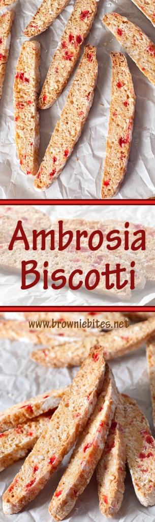 Ambrosia Biscotti is full of flavor from cherries, coconut, and orange - perfect with your morning coffee!
