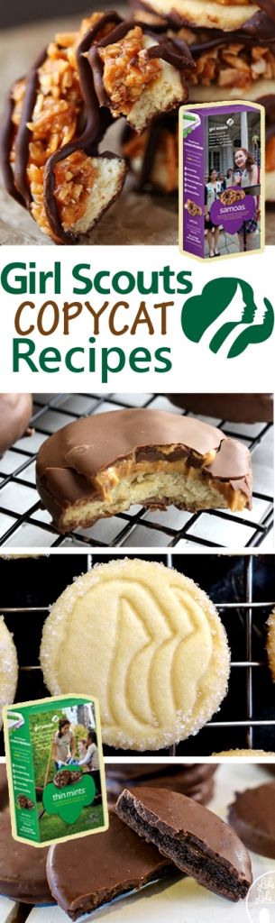 How to make Girl Scout cookies at home! A list of recipes to make all of your favorites including thin mints, tagalongs, and samoas!