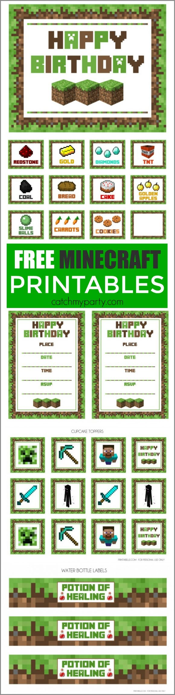 This is a photo of Free Printable Minecraft Food Labels throughout backdrop