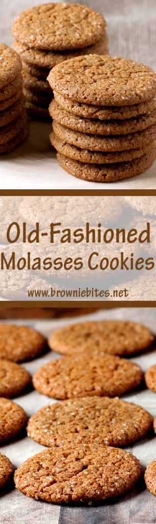 Perfect and chewy old-fashioned molasses cookies - no chill time for the dough!