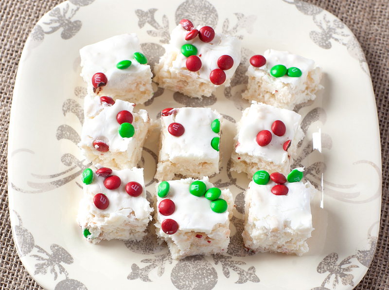 Definitely one for the sweet lovers - gooey white chocolate marshmallow fudge swirled with Rice Krispies treats and garnished with mini M&M's or chocolate chips that you can theme for any holiday.