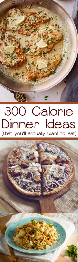 A list of easy dinner ideas that are 300 calories or less!