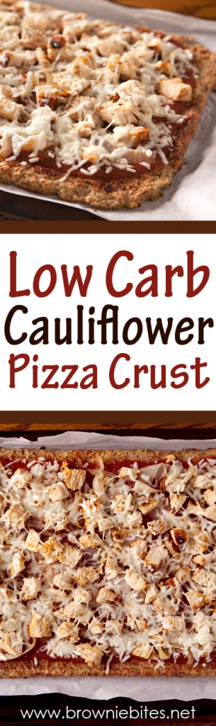 Low carb cauliflower pizza crust using thawed frozen cauliflower so you don't have to cook it first!
