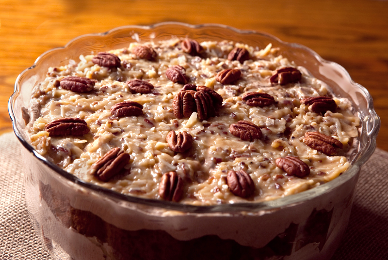 German Chocolate Cake Trifle - one of my favorite semi-homemade desserts using a cake mix combined with scratch made German chocolate mousse and coconut pecan filling.