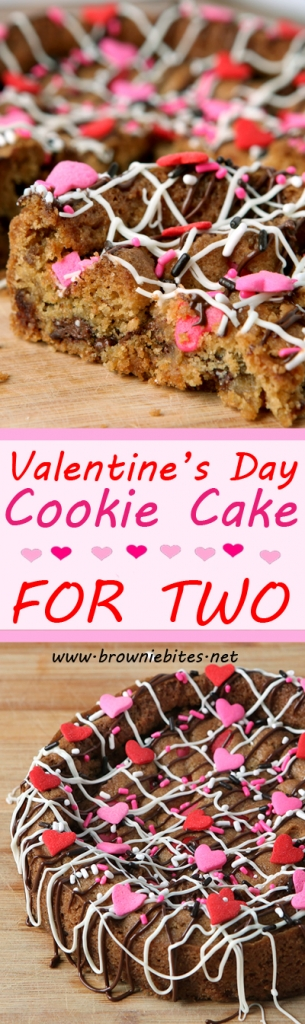 A perfectly-sized 6 inch chocolate chip cookie cake recipe for two for Valentine's Day!