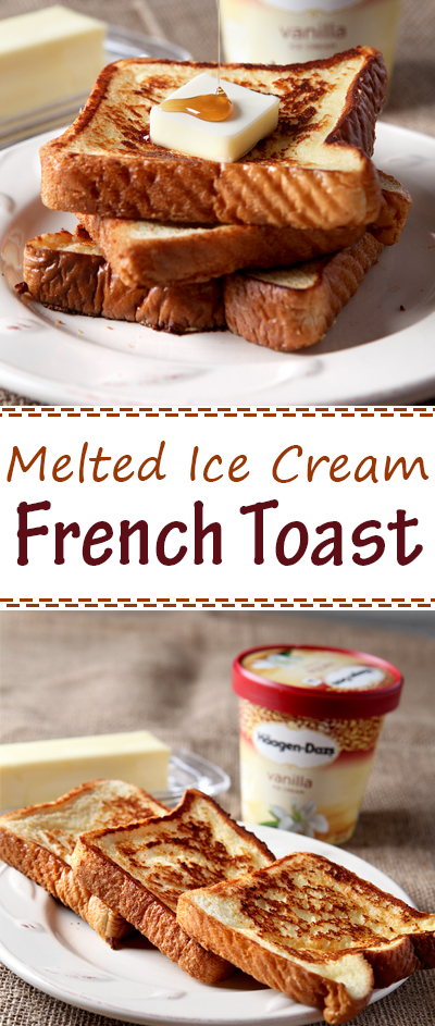 This French toast is literally made with melted vanilla ice cream! Game changer, folks. Such a special and super easy breakfast idea.