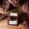 Fudgy, gooey brownie bites stuffed with peanut butter Ritz Bits for an extra salty crunch. This uses one of my favorite brownie bites recipes as the base!