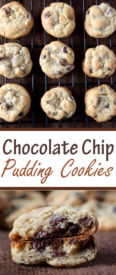 These puffy chocolate chip cookies come out thick and soft due to a package of instant pudding mix in the dough!  One of my new favorite recipes for chocolate chip cookies.