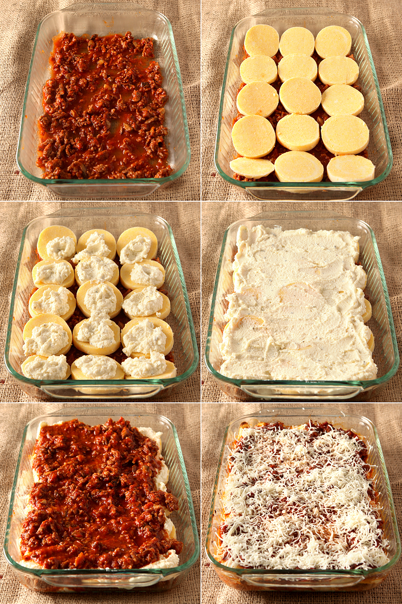 Easy weeknight dinner idea - this cheesy Italian sausage casserole uses pre-made polenta and pasta sauce so you can have it on the table fast!