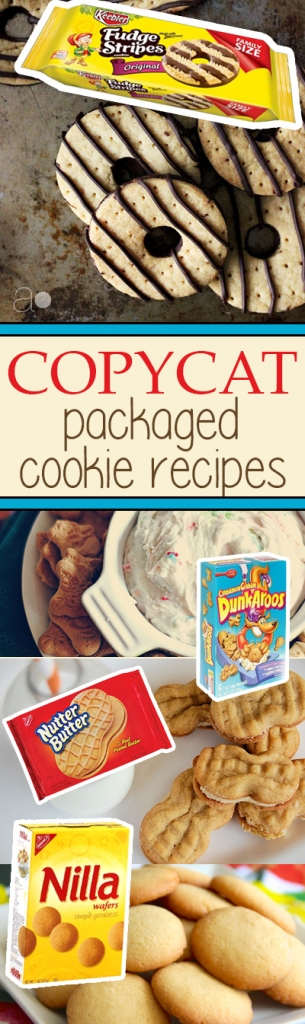 Copycat cookie recipes for all of your packaged favorites like Nilla Wafers, Oreos, Nutter Butter, Fudge Stripe, and more