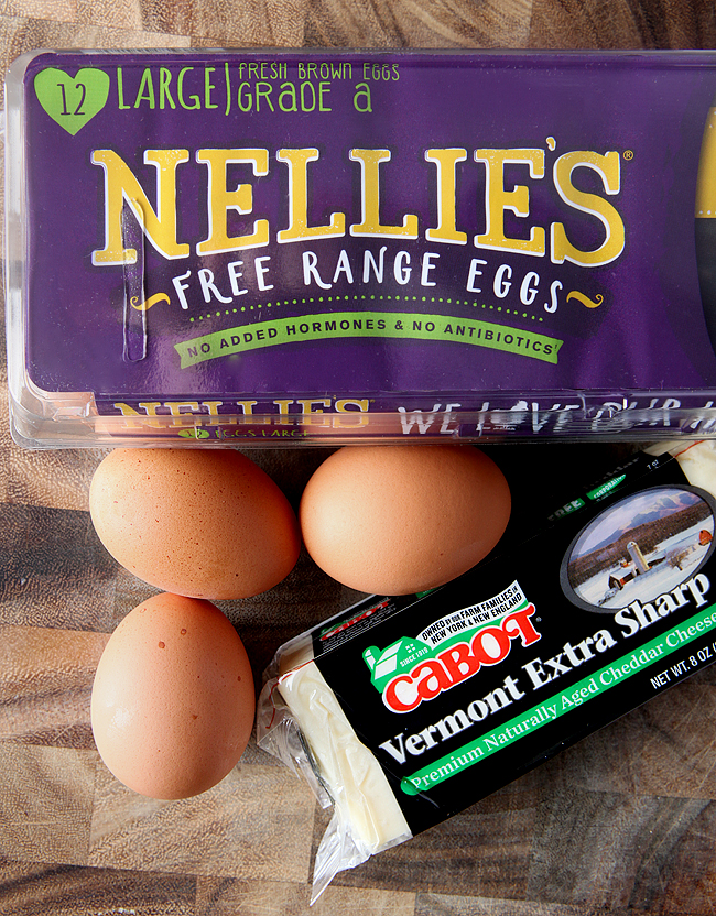 Nellie's Free Range Eggs and Cabot Cheese