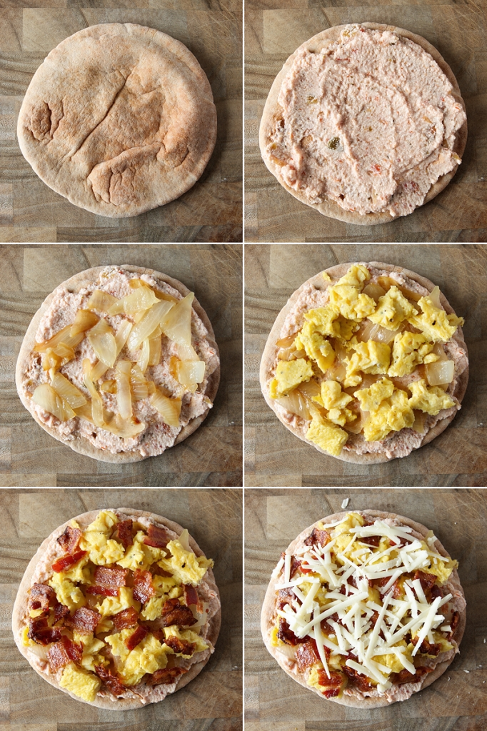 Easy Breakfast Pita Pizzas Step By
