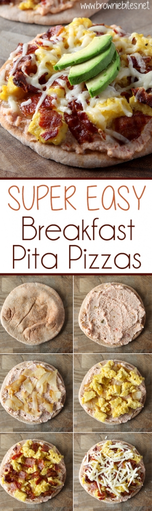 "Easy Breakfast Pita Pizzas using whole wheat pitas, eggs, bacon, cheese, onion, and a ""pizza sauce"" using ricotta cheese and salsa, YUM!"