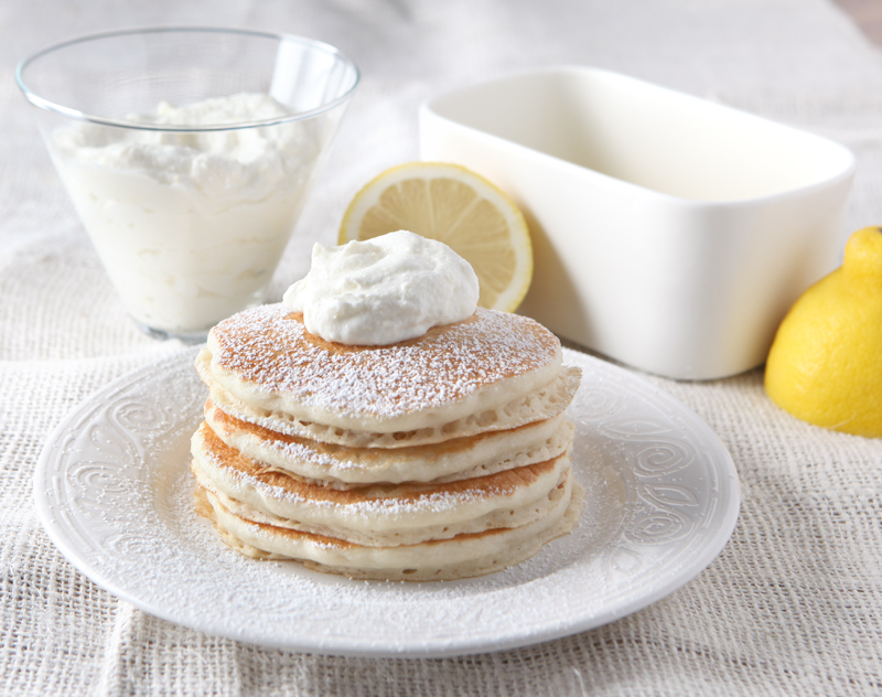 Lemon Ricotta Pancake Topping made from citrus-infused whipped cream - SO GOOD!